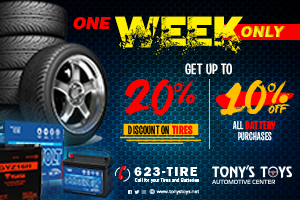 Tony's Toys - One Week TIre & Battery Sale [sponsored]