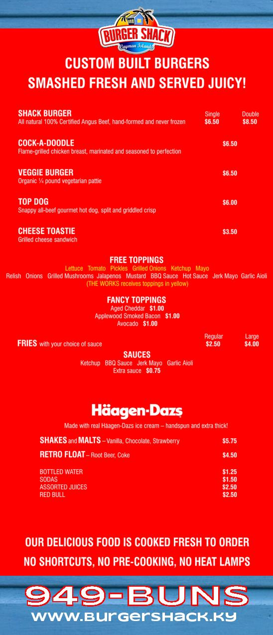 burger shack menu